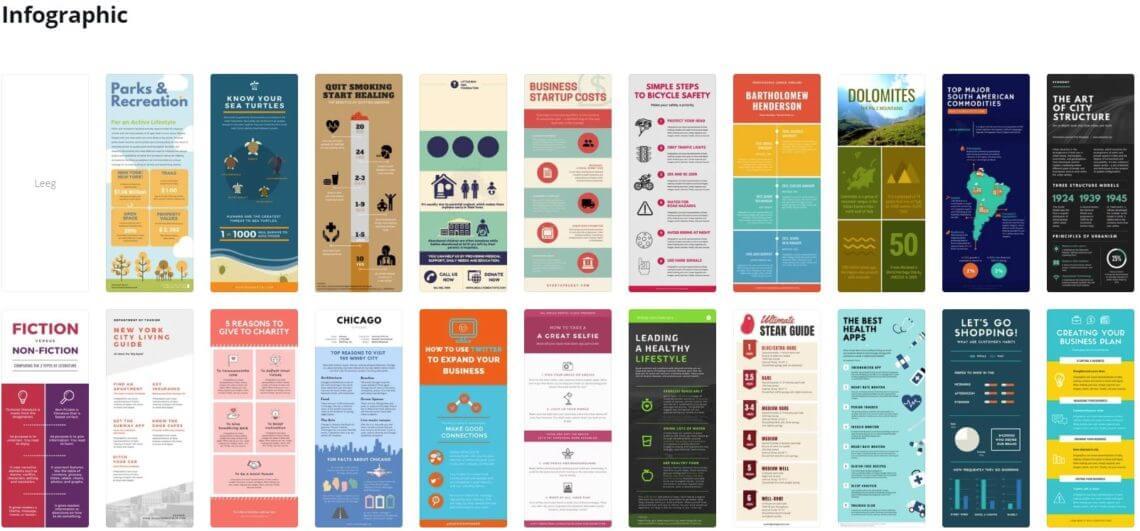 Voorbeelden van visuele Infographics die te gebruiken zijn op Canva