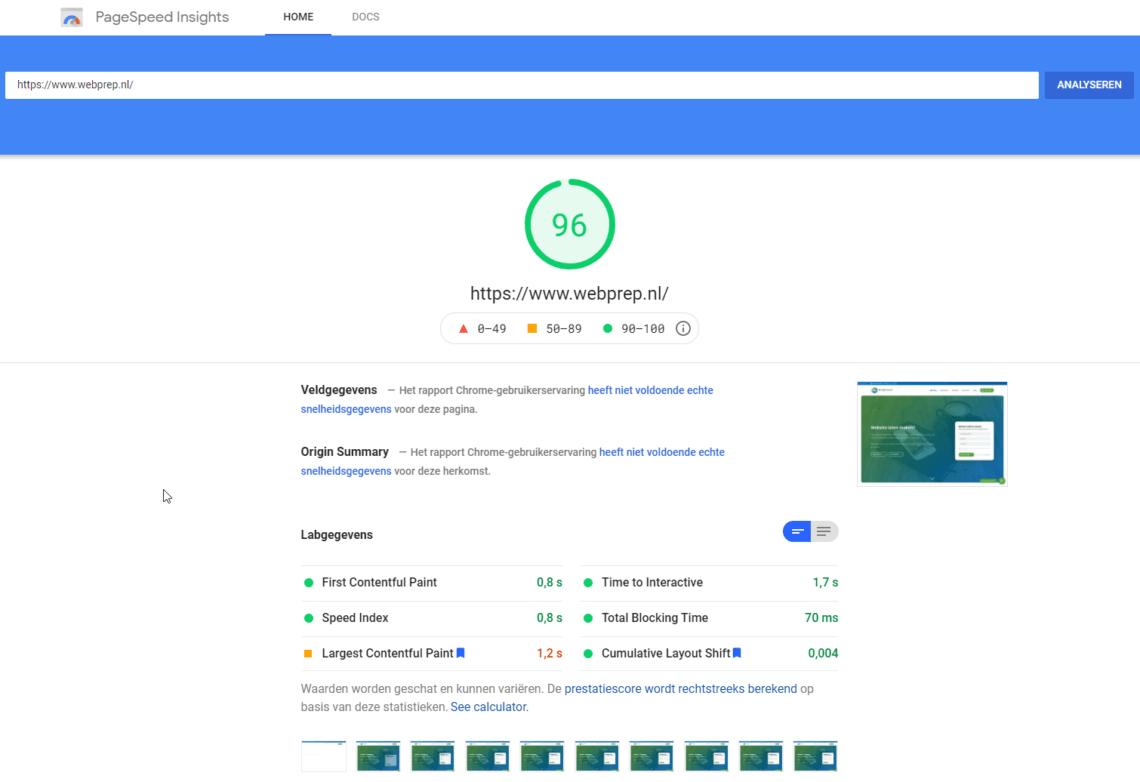 PageSpeed Insights score van de Core Web Vitals van WebPrep